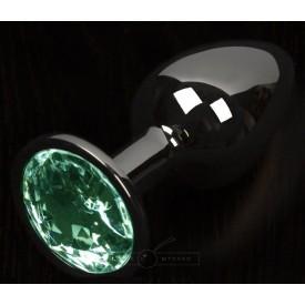 Графитовая анальная пробка с зеленым кристаллом - 8,5 см.